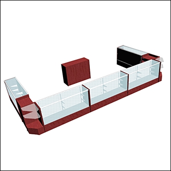 Economy Kiosk - Extra Wide 10 Unit Combo with Back Counter - Cherry