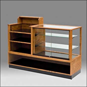 Classic Real Wood Showcase and Register Stand Combo Unit - Multiple Stain Options