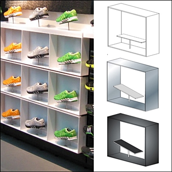 Steel Frame Shoe Display - Slatwall, Grid, Wall Mount and Counter