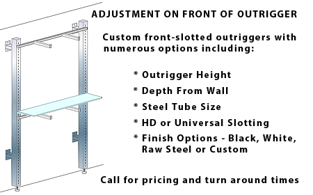 custom retail steel outriggers front slotting