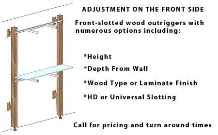 custom wood retail outriggers wall modules front slotted