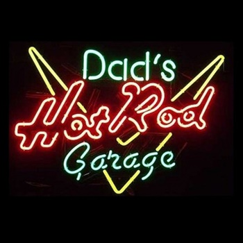 Dads Hot Rod Garage Neon Bar Sign