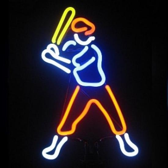 Baseball Player 2 Neon Sculpture