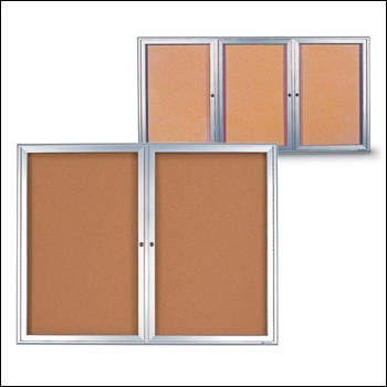 Large Radius Framed Corkboards with Hinged Glass Door Fronts - Multiple Sizes