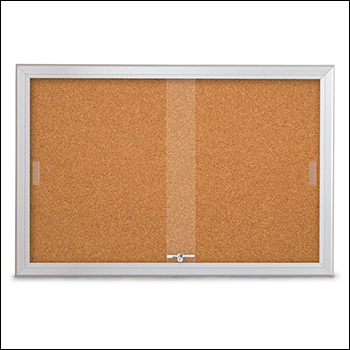 Large Radius Framed Corkboards with Sliding Glass Door Fronts - Multiple Sizes