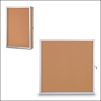 Slim Line Radius Framed Corkboard with Locking Hinged Door - Multiple Size Options