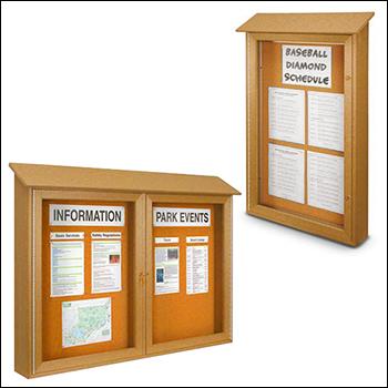 Indoor / Outdoor Swinging Glass Door Corkboard Message Center - Multiple Sizes