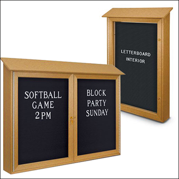 Indoor / Outdoor Swinging Glass Door LetterBoard Message Center - Multiple Sizes