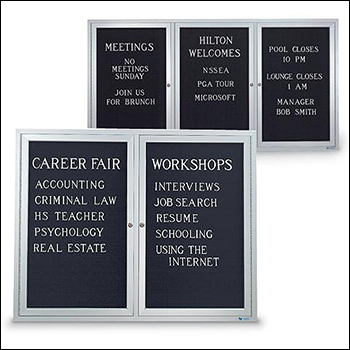 Large Aluminum Framed LetterBoards with Locking Hinged Doors - Multiple Sizes