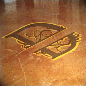 concrete floor logo retail example