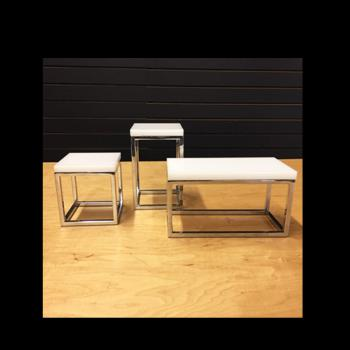 White Tops for Chrome Open Cube Risers