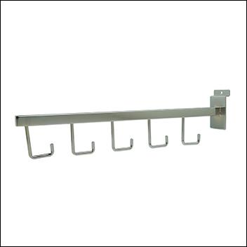 5-Hook Straight Arm Slatwall Display - Chrome