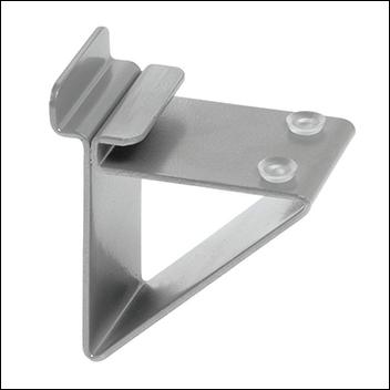 Metal Slatwall Bracket for Glass Shelves - Black & Silver