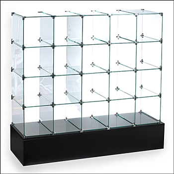 5 x 4 Glass Bin Unit with 20 Cubbies -  Rectangular Cubbies
