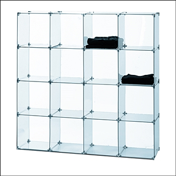 4 x 4 Glass Bin Unit with 16 Cubbies -  12