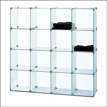 """4 x 4 Glass Bin Unit with 16 Cubbies -  12"""" Square Cubbies"""