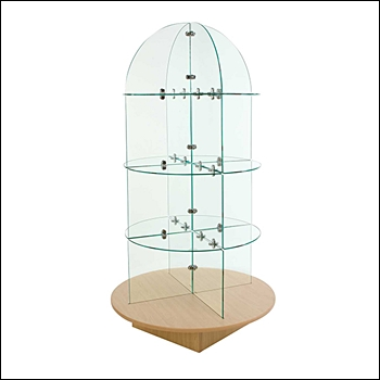 Glass Merchandiser Tower with Round Base