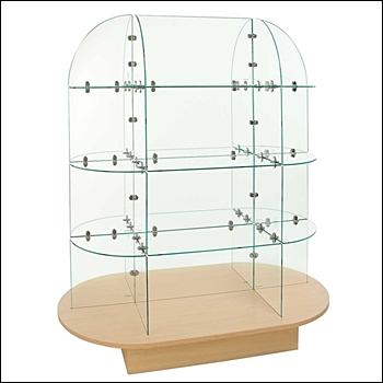 Large Glass Merchandiser with Wood Oval Base