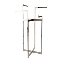 4-Way Space Saver Folding Rack w/ Rectangular Tubing Straight Arms - Chrome