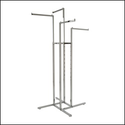 4-Way Rack w/ 4 Square Tubing Straight Arms - Chrome