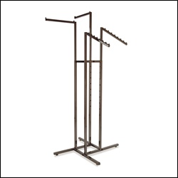 4-Way Rack w/ 2 Square Tubing Straight Arms and 2 Slant Arms - Raw Steel
