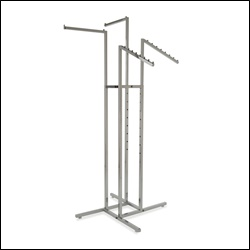 4-Way Rack w/ 2 Square Tubing Straight Arms and 2 Slant Arms - Chrome
