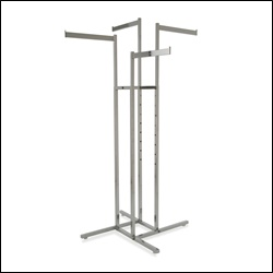 4-Way Rack w/ 4 Rectangular Tubing Straight Arms - Chrome