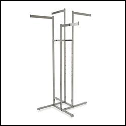 4-Way Rack w/ 4 Rectangular Tubing Straight Arms - Chrome