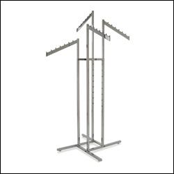 4-Way Rack w/ 4 Rectangular Tubing Slant Arms - Chrome