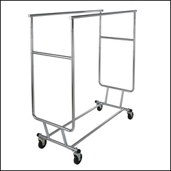 Collapsible Salesman's Garment Rack w/ Double Round Tubing Hangrail