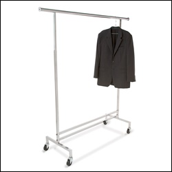 Salesman's Single Hangrail Rolling Rack - Square Tubing
