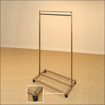 Single Bar Clothing Rack - Raw Steel with Castors