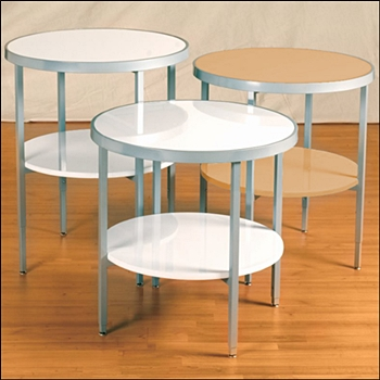 Silver Framed Round Display Table w Shelf - Adjustable Legs