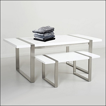 Contemporary Stainless Steel and White Gloss Nesting Tables