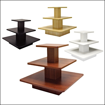 Economy Square 3-Tier Table with Multi-Finish Options