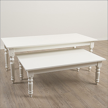 Vintage Farm and Nesting Table - Antique White