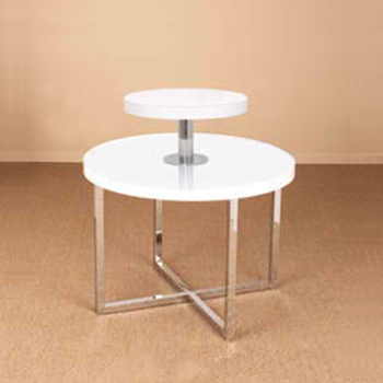 Gloss White Retail Display Table and Round Topper