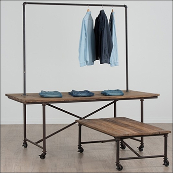 Reclaimed Elm Tables on Aged Iron Frame - Rack Topper Option