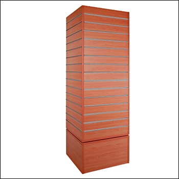 Standard Revolving Slatwall Tower with Metal Inserts - Multiple Finish Options