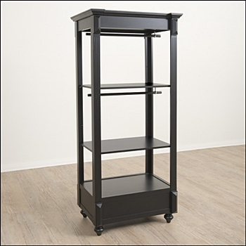 Tall Vintage Apparel Rack with Hangbar and Shelf - Black