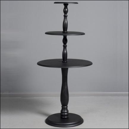 Vintage 3 Tier Round Table Black, 3 Tier Round Display Table