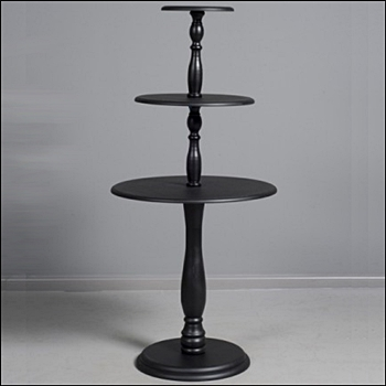 Vintage 3 Tier Round Table - Black