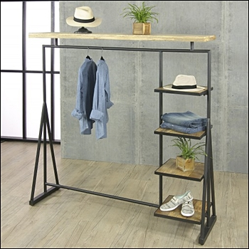 Vintage Long Arm Black Steel with Mango Wood Shelves & Topper