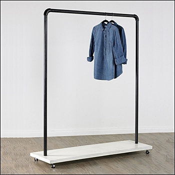 Vintage Rolling Apparel Rack with White Base