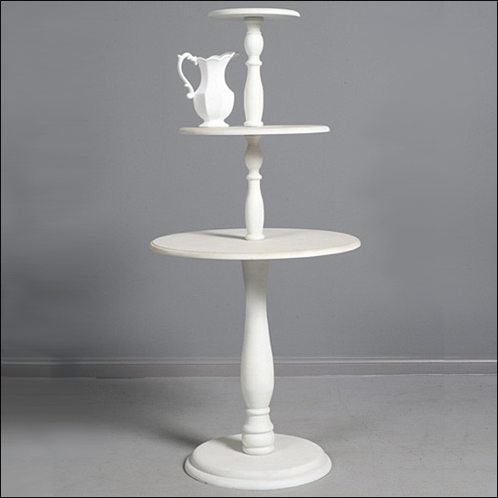 Vintage 3 Tier Round Table White, 3 Tier Round Display Table