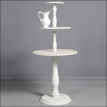 Vintage 3 Tier Round Table - White