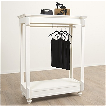 Vintage Apparel Rack with Hangbar - White