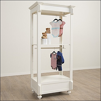 Tall Vintage Apparel Rack with Hangbar and Shelf - White