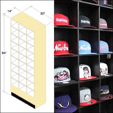 Tall Wood Retail Hat Bin