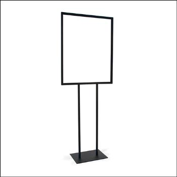 "22"" x 28"" Bulletin Sign Holder w/ Flat Base - Black and Chrome"
